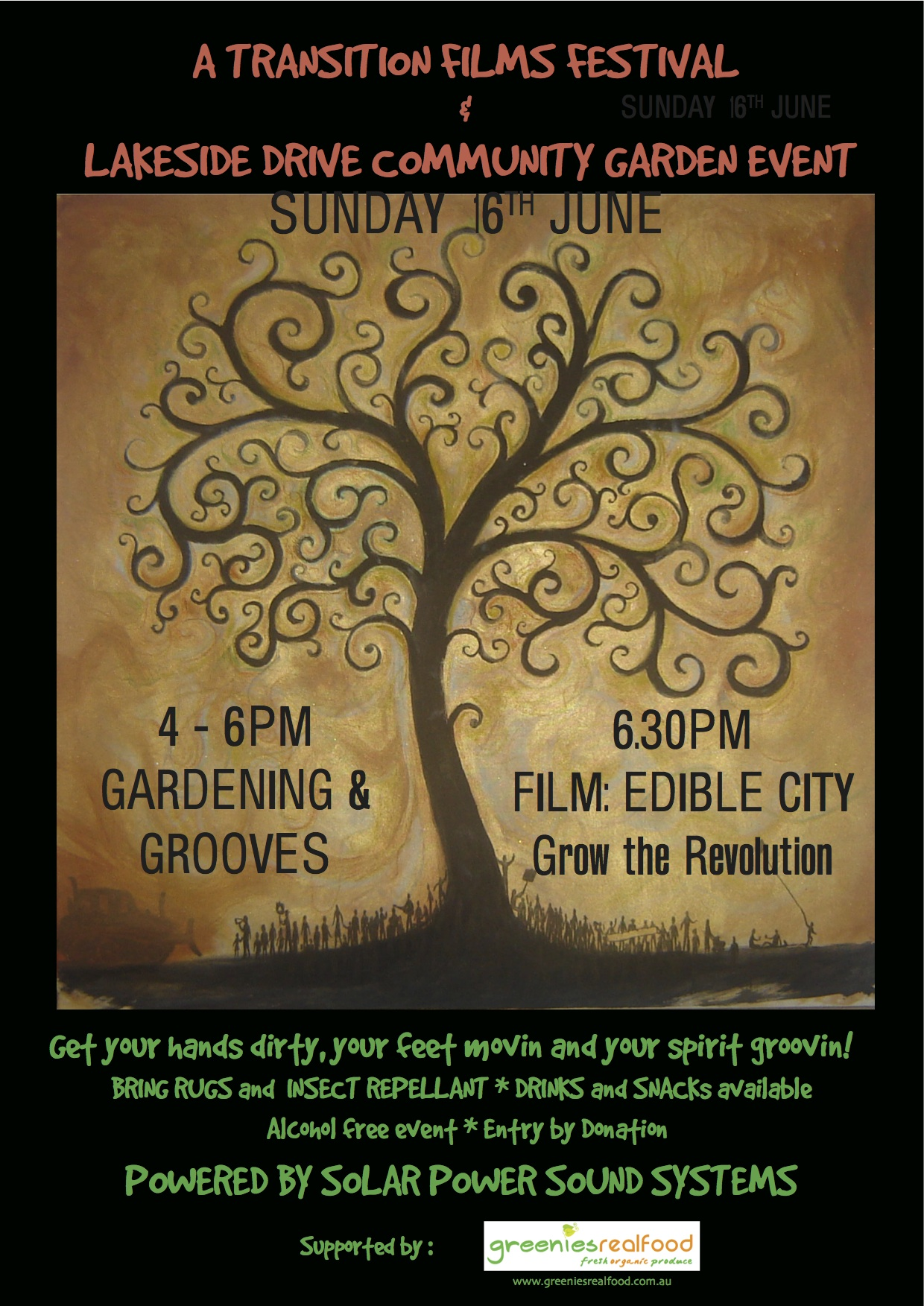 """""""Edible City"""" Solar film showing at Lakeside Drive Community Gardens"""